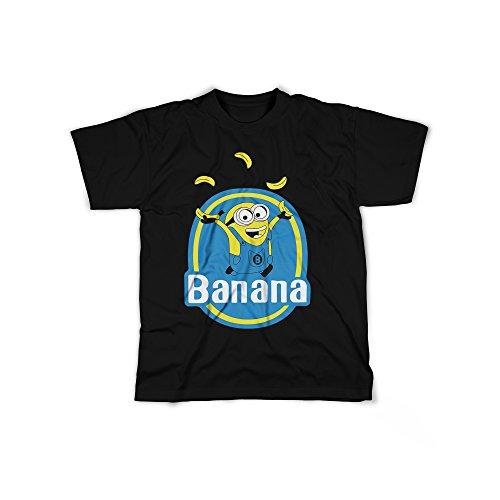Aufdruck in Schwarz Gr. S Kleine Gelbe Monster Banana Design Boy Top Jungen Shirt Herren Basic 100% Baumwolle Kurzarm (Bananen-mann-outfit)