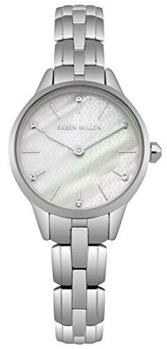 Karen Millen Reloj Análogo clásico para Mujer de Cuarzo con Correa en Acero Inoxidable KM168SM