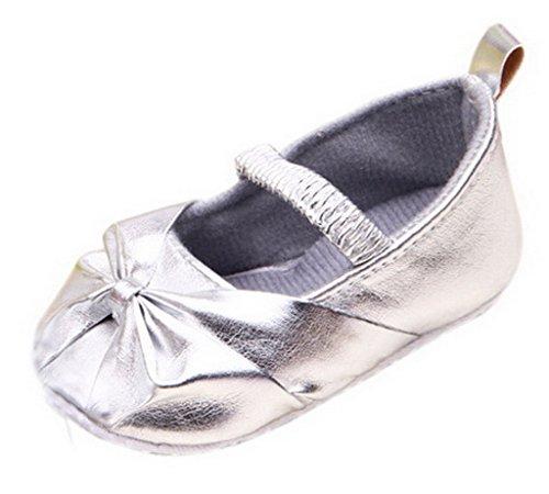 Bigood Liebe süße Ballet Stil Baby-Mädchen Lauflernschuhe Schleife PU 13 Golden Silber