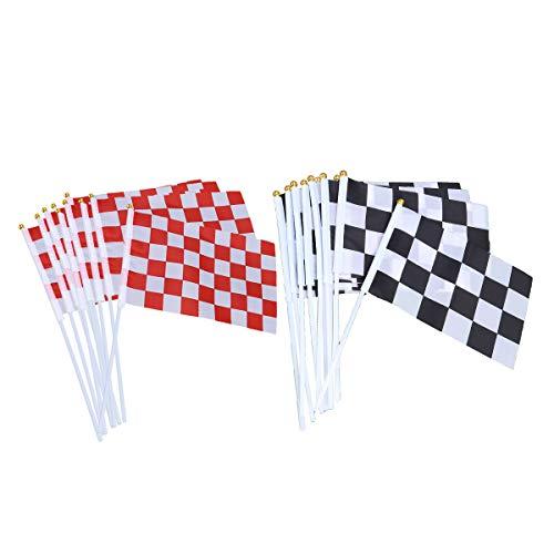 Checkered Flag Stick (TOYANDONA 20pcs Checkered Racing Flag Dekorationen liefert für Renn-Geburtstagsfeiern)