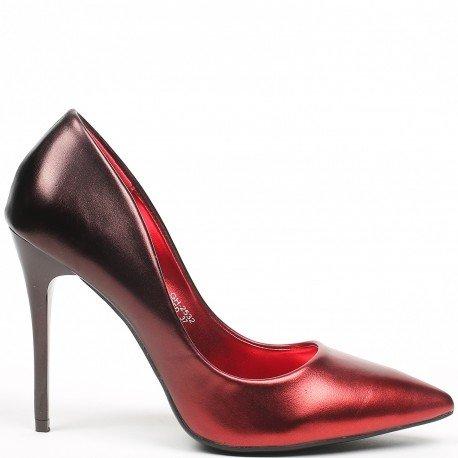 Ideal Shoes - Escarpins nacrés Vaneli Rouge