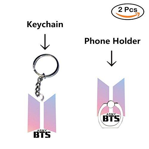 Loheag Clinor BTS Keychain & BTS Handyhalter Ring, BTS Band Members Fan Schlüsselbund Schlüsselanhänger Anhänger Ornament und Handy Fingerhalter Halter Halterung, Beste Geschenk für The Army - 5 Min Fan