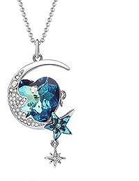 d786c8b9f01f SHYNAN Personalidad Star Moon Crystal suéter Cadena Broche Collar Tres