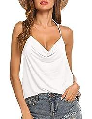 Chaleco de Mujer Camiseta Sin Mangas Espalda Abierta Color sólido Anudado Suelto y cómodo Slim-fit Sling Top Casual Vestido Fiesta Primavera Verano Marlene1988