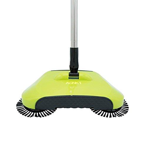 3 in 1 Automatische Hand Push Sweeper Broom, KONKY Haushalt Besen Kehrmaschine, 360 Degree Rotary Reinigungsmaschine Easy Sweep Mülleimer Kehrschaufel, Grün