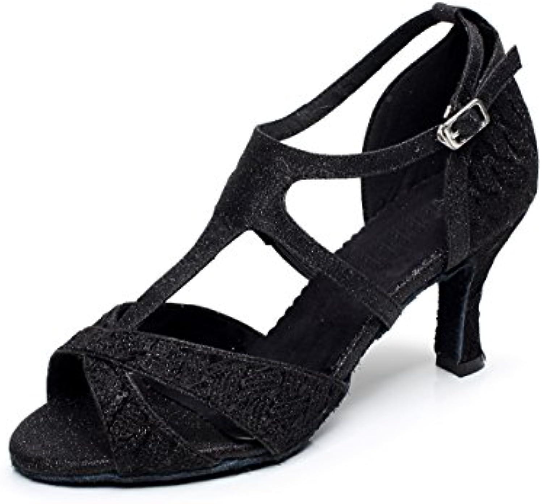 1b190b4075480 MINITOO Women s Style QJ6208 QJ6208 QJ6208 Colorful T-Strap Fashion Black  Glitter Latin Ballroom Dance Shoes 7.5 M UK Parent B011MY6GFK 437af4