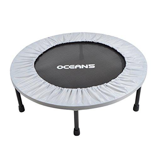 Ocean5 Easy Jump 100 Fitness-Trampolin 82 cm Ø, Minitrampolin mit Randabdeckung, Gesundheitstrampolin bis 120 kg belastbar, Farbe: Silber
