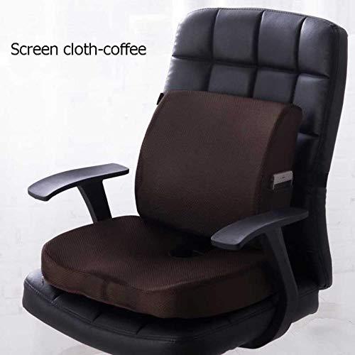 BBZ Autositzkissen Memory Foam Sitzmassage Stuhl Rücken Kissen Kissen Bürokissen, Bildschirm Stoff Kaffee