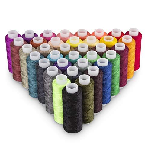 STARVAST - Juego de 60 bobinas de hilo de coser de poliéster, 250 yardas, colores surtidos, bobina de hilo de coser, bobinas de algodón, para coser a máquina, coser a mano o coser a bordar