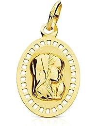 Medalla Virgen niña calada 17 mm en oro amarillo de 9 Ktes