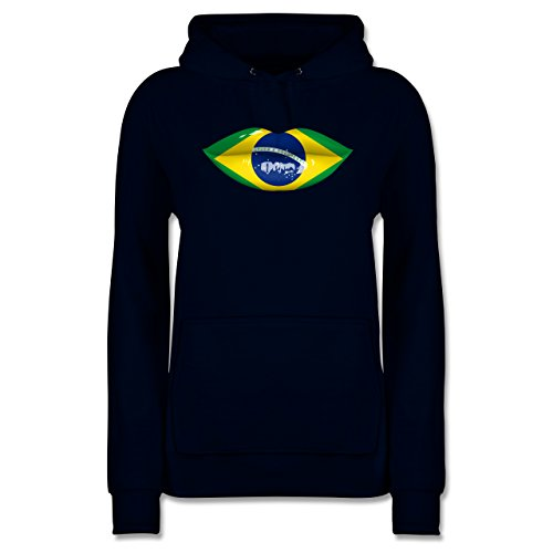 Shirtracer Länder - Lippen Bodypaint Brasilien - XXL - Navy Blau - JH001F - Damen Hoodie