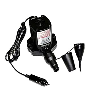 ANTFEES Quicker Inflation Durable Electric Air Pump with 12V-DC Car Cigarette Lighter Plug,Three Nozzles Included,Black