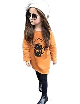 [Patrocinado]Ropa para chicas, RETUROM Camiseta larga anaranjada de la manga de la niña Tops + pantalones largos
