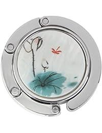 Gancho de Bolso Monedero Cuelgabolso Plegable Diamantes de Imitación Flor Loto