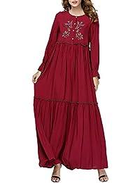 TAAMBAB Vestido Maxi Casual Abaya para Mujeres Musulmanas de Arabia - Bordado Floral Túnica Ropa Musulmán