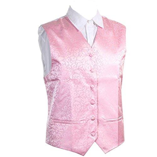 MultiWare Gilet De Mariage Homme Gilet Costume Rose