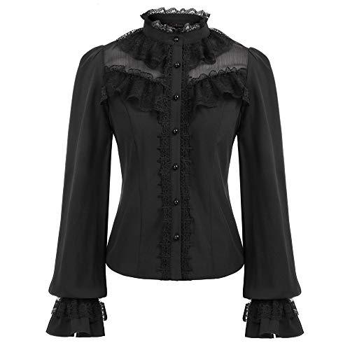 Curlbiuty Camisa Vintage Camisetas Elegantes para Mujer En Encaje GóTico Camisa Larga GóTica Renacentista Negro 2XL CU43-1