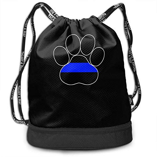 Dünner Blue Line K-9 Paw Drawstring Rucksack für Herren und Damen, 100% Polyester Athletic Gym Bag -