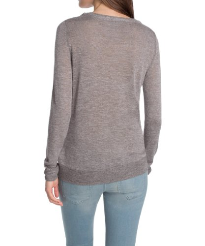edc by ESPRIT Pull-over  Col ras du cou Manches longues Femme Beige - Hautfarben (106 NUDE POWDER)