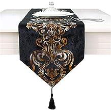 Camino de mesa de lujo con bordado de flores, negro, 33 * 210cm