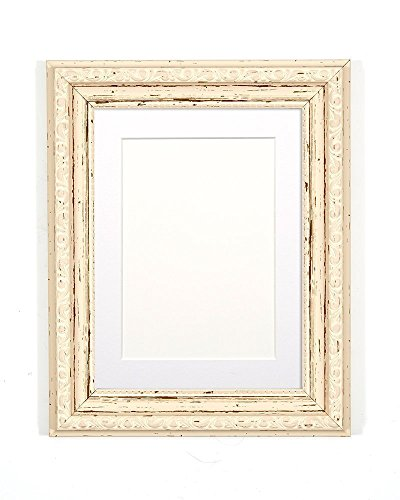 Vintage-Bilderrahmen mit MDF-Rückplatte, Distressed White with White Mount, 20