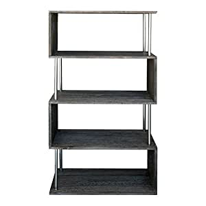 Mobili rebecca scaffale libreria 4 ripiani legno grigio for Mobili 5 stelle