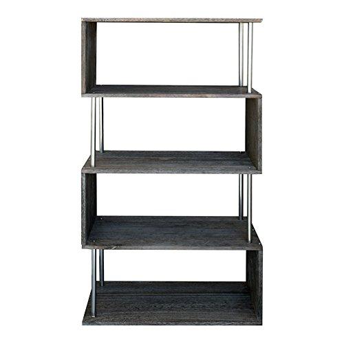 Rebecca srl scaffale libreria 4 ripiani legno grigio design moderno urban camera soggiorno (cod. re4661)