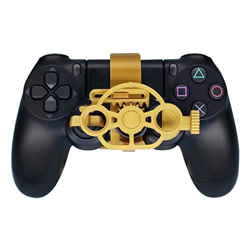 PS4 Gaming Racing Wheel (verbessert), 3D bedrucktes Mini-Lenkrad für Playstation 4 Controller Metal Gold