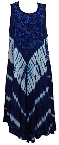 Damen Regenschirm Cut Einheitsgröße Blumendruck - Sleeveless Strand-Sommer Umstandskleid ( One Size, Midnight Blue Floral) (Tie-dye Baby Blue)