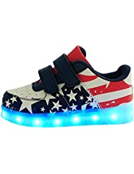 Moollyfox Niños Modelo De Estrella Usb Carga Led Luz Glow Luminosos Light Up Flashing Sneakers