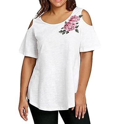 Zarupeng Oversize Damen Gestickte Applique Bluse, Mode Open Schulter T-Shirt Kurzarm-Top Trägerlose Lose Hemd Übergröße Sommer Stand Shirt