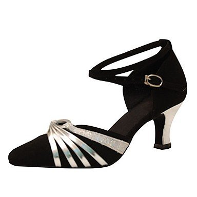 Ruhe @ Damen Dance Schuhe Beflockung latin/Moderne Sandalen/Heels Heel Professional/innen schwarz Schwarz