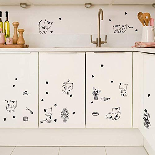 Wandtattoos & Wandbilder,Cartoon Black And White Kitty Pflanze Topf Wandaufkleber Schlafzimmer Küche Dekor Aufkleber
