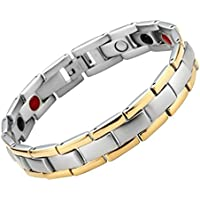 JOVIVI Magnetarmband Herren-Armband aus Edelstahl Magnetische Armband Armreif 4-in-1 Magnete Armband Silber+Gold preisvergleich bei billige-tabletten.eu