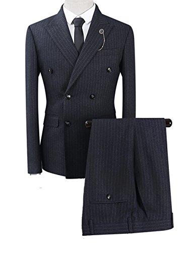 Haute Costume De Smoking Décontraction Mariage Trois-Pièces Veste Gilet et Patalon Rayé Slim Fit Classique Gris Foncé