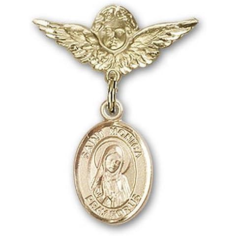 Icecarats Oro Gioielli Di Design Riempito St. Monica Fascino Angelo Pin Distintivo 1 X 3/4