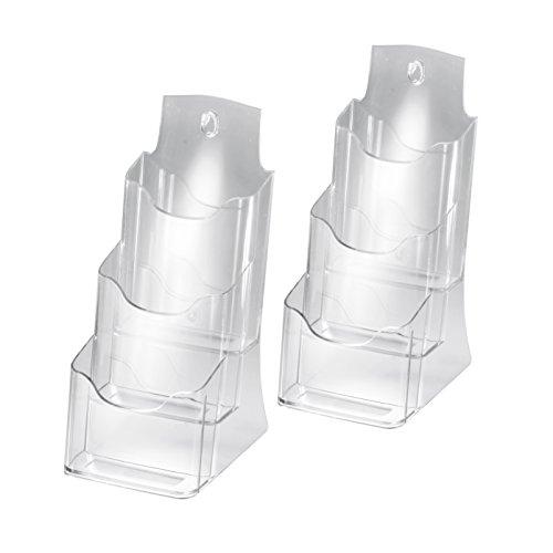 Sigel LH133 Tisch-Prospekthalter DIN lang/A6 aus Acryl mit 3 Fächern, 2 Stück, transparent / Prospektständer / Flyerhalter - weitere Größen
