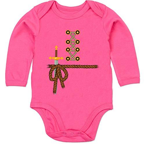 Shirtracer Karneval und Fasching Baby - Ritter Kostüm Fasching - 12-18 Monate - Fuchsia - BZ30 - Baby Body Langarm (Witzige Gruppe Kostüm)