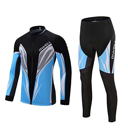 GWELL Herren Radtrikot Set Fahrrad Trikot Langarm + Radhose mit Sitzpolster blau XL