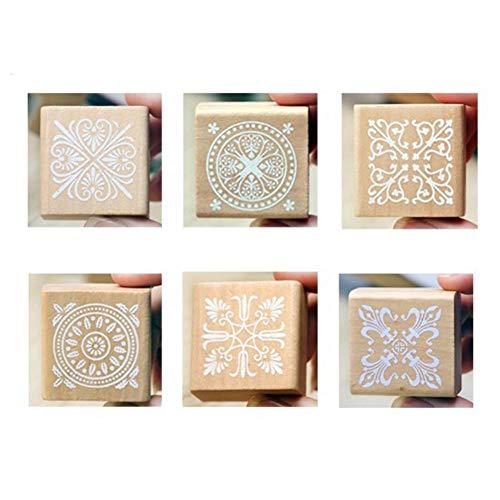 Cosanter Muster Siegel 6 1 verkauft Klassische Vintage Quadrat Holz Vintage Muster Siegel Lace Serie schöne Siegel Farbe Bild Holz Größe 4 * 4cm -