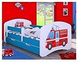 naka24 Kinderbett mit Matratze und Bettkasten für Jungen (160x80 cm, Feuerwehr)