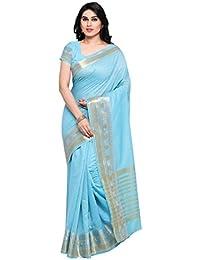 Vaamsi Women's Cotton Silk Saree With Blouse Piece(Silkjaq1073_Blue_Free Size)
