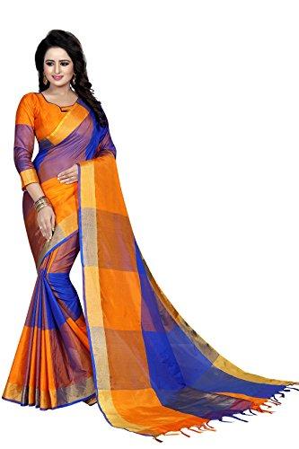 J B Fashion Women's Cotton Saree With Blouse Piece (Ekkat-04-_Orange)