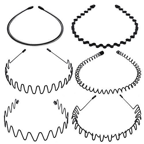 Tagaremuser 6 STÜCKE Metall Haarband Schwarz Spring Wave Haarband Multi-Style Unisex Flexible Stirnband Zubehör für Frauen Männer