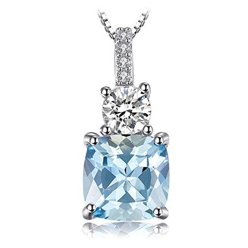 JewelryPalace Donna Gioiello 2.2ct Cuscino Taglio Naturale Azzurro Topazio Collana Con Ciondolo 925 Argento Sterling 45cm