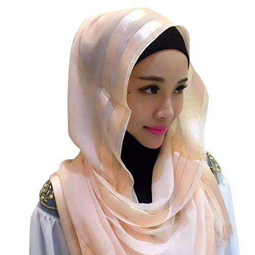 Hougood Hijab Sciarpa Donna Fazzoletto da testa Tinta unita Arabia Musulmane Islamici Scialli Hijab Muslim Headscarf