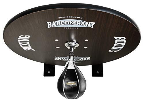 Premium Speedball Plattform Set inkl. Drehkugellagerung schwarz und Leder Boxbirne medium schwarz / Boxapparat für die Wandmontage BCA-40