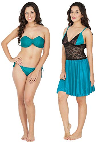 Klamotten Women's Baby Doll (Pack of 2)(221T-07T Turquoise Free Size)