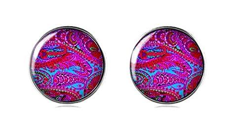 Tizi Bijoux Argent sterling 925Violet indien Impression Clous d