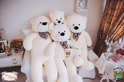 MyTeddyWorld Giant Teddy Bear - 140cm Big Cuddly Soft Velvet Plush Giant Teddy Bear Animals for Kids Fidanzata - Perfect Toy Gift for Christmas Compleanno San Valentino Anniversario Bianco